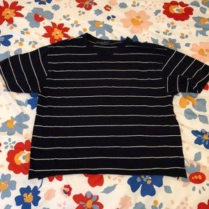 Brandy Melville raw hem stripped tshirt